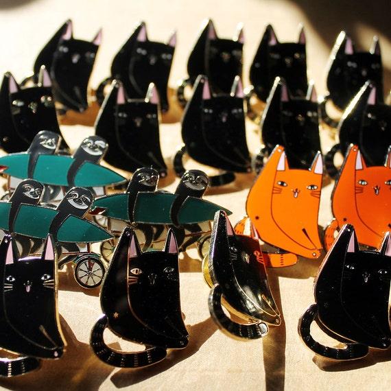 Discounted defective cat enamel pins - half price