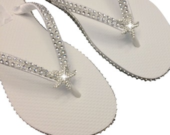 Bridal Flip Flops - Starfish Flip Flops - Beach Wedding Flip Flops - Bridesmaid Flip Flops - Star Fish Flip Flops  - Custom Flip Flops