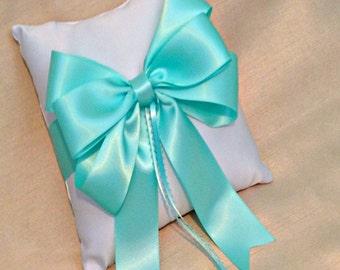 Ring Bearer Pillow - Ring Pillow - Ring Pillow Wedding - Aqua Wedding - Ringbearer Pillow - Bow Ring Cushion - Custom Ring Pillow Colors