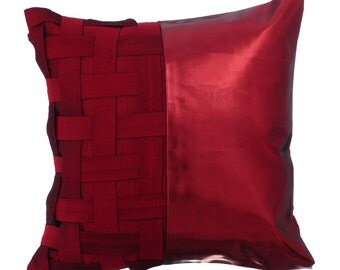 Decorative Throw Pillow Cover Accent Pillow Couch Sofa Leather Pillow Case 16x16 Red Metallic Faux Leather Pillow Red N Half