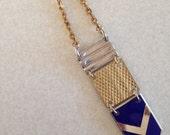 Chevron necklace. Blue enamel necklace.