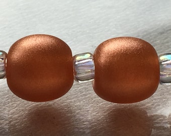 Shimmering Copper Pearl Pair Handmade Lampwork Glass Beads by Jettonne SRA