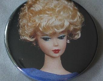 vintage barbie pocket mirror, upcycled blonde barbie