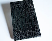 Black Leather Checkbook Cover - Faux Alligator Leather Checkbook Holder
