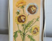Vintage Box of 12 Dandelion Animal Flower Blank Stationary Note Cards Pratt & Austin's Deadstock