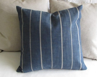 Rustic Woven blue in cream stripes pillow 18x18 20x20 22x22 insert included
