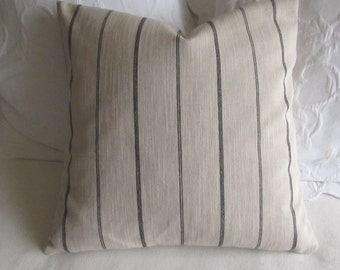 Rustic Woven ecru in black stripes pillow 18x18 20x20 22x22 insert included