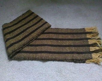 Handwoven Wool Scarf Brown and Orange Stripes