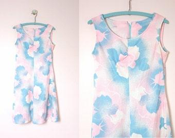 1970s Pink & Blue Floral Mod A-line Poly Dress Size L