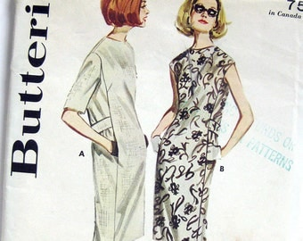 1960s Vintage Sewing Pattern - Dress with Back Belt and Pockets - Butterick 2996 / Size 12 UNCUT FF