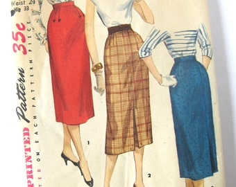 1950s Rockabilly Pencil Slim Wiggle Skirt Vintage Sewing Pattern Simplicity 1345  / Waist 24