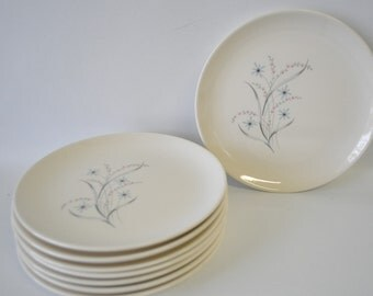 Vintage Windemere pattern Ever Yours by Taylor Smith & Taylor / retro mid century modern saucers / bread butter plates / dessert plates