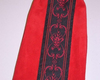 Red Suede LEATHER w/Skulls Embroidered Trim Drawcord Bag