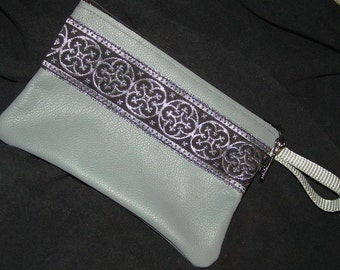 Gray LEATHER w/Black & Silver Embroidered Trim Zip Bag