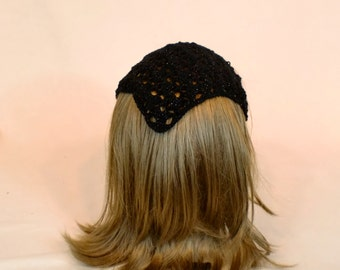 Black Crochet Hair Bandana Headband, Boho Lace Head Kerchief Wrap, Sparkle Hippie Hair Scarf,