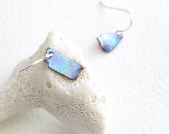 Violet Abalone Earrings, Purple Shell Jewelry, Paua Beach Jewelry