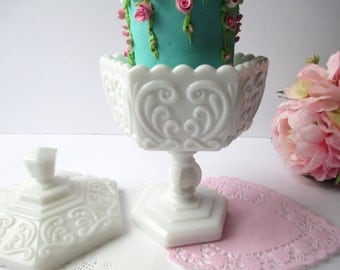 Vintage Imperial Milk Glass Atterbury Scroll Covered Dish - Weddings Bridal