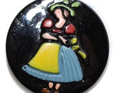 Button - Vintage Black Glass Pictorial - Small