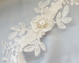 Ivory Crosage Flower Girl Ankle Corsage Ruffle Tulle Lace Pearl Rhinestone Accent