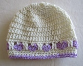 Crochet Hat with Hearts in Eggshell and Purple