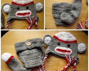 Custom Crochet Monkey Photo Prop for Boy or Girl FREE SHIPPING