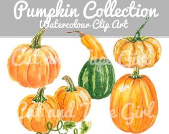 Watercolor Pumpkin Clip Art - Fall Clipart, Autumn Clip Art, Pumpkin Watercolor, Hand Drawn, Gourd, Seasonal Clipart
