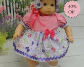 Garden Butterfly- Bitty Baby dress with bonnet and diaper **Sale**