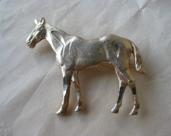Horse Gold Brooch Pin Vintage