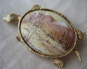 Turtle Landscape Porcelain Brooch Gold Yellow Tortoise Hand  Painted Vintage Pin