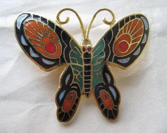 Butterfly Black Orange Red Blue Brooch Gold Enamel Vintage Pin Cloisonné Pendant