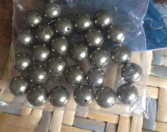 PYRITE Fools Gold Beads 10mm  Free Shipping