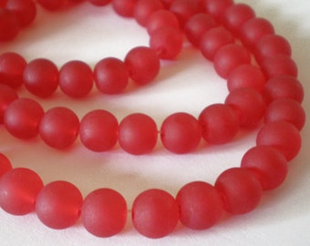 25pcs - 8mm Frosted Bright Red matte round Glass beads