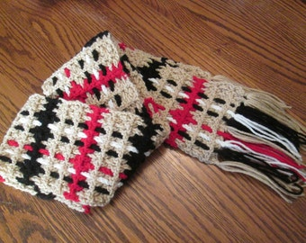 Unisex Crochet Tan Plaid Scarf