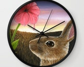 Wall Clock Modern Clock Mural White Black Natural Hare 58 Rabbit Pink Flower art painting by Lucie Dumas