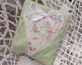 lavender Sachet with  Floral Appliqued Heart