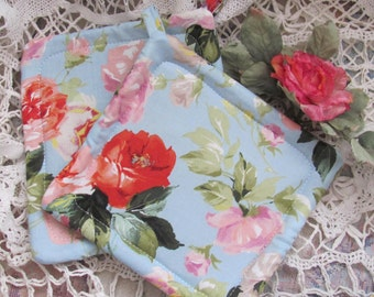 Pot Holders Set of Two  / Trivets, Roses Fabric