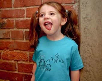 Toddler Shirt, Seattle Robot T-Shirt, Size 2T - 4T, Blue, Unisex