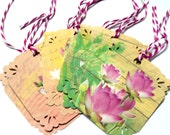 6 Gift Tags, Lotus Flowers, Pink Green Pastels, Party Favor Tags, Merchandise Tags