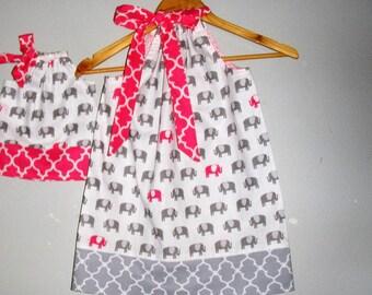 pillowcase dress Elephant pink gray  dress matching  American Girl Doll 3,6,9 12,18 month 2t, 3t, 4t, 5t,6,7,8,9.10,12