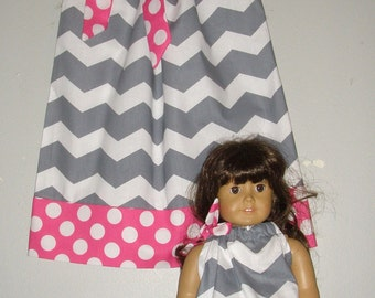 Dolly and me dress   gray chevron dress matching America Girl Doll 3, 6, 9 12,18 month 2t, 3t, 4t, 5t,6,7,8,10,12