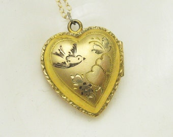 Heart Locket Necklace Sparrow Vintage Sixties Victorian Jewelry N7022