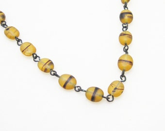 Vintage Glass Bead Necklace Yellow N7098