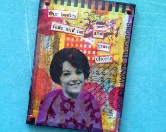 Vintage advertising photo with cheesy found poetry mixed media collage ATC ACEO