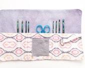 Crochet hook roll up, Small crochet hook organizer, small crochet hook holder, small crochet hook case