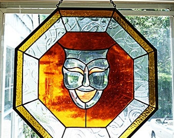 Large Stained Glass,Hanging Panel, Beveled Glass, Comedy Mask, Brilliant Orange, Octagon