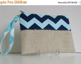 SALE 30% Off Wristlet, Clutch,  Zipper Pouch