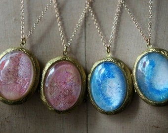 Pink Glitter Locket, Fairy Dust Pendant, Vintage Gold Brass, Oval Glass Necklace, Gift for Her, Under 50, Iridescent Pink
