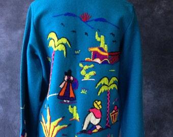 50's turquoise Mexican souvenir jacket, Medium