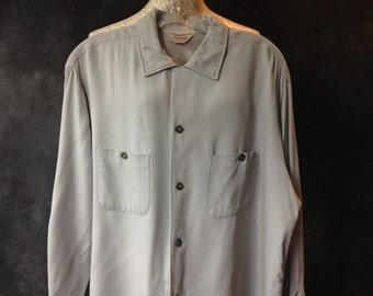 50's Penney's Towncraft blue grey rayon gabardine shirt.