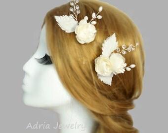 Silk Flower Hair Pins, Wedding Hair Pins Ivory Bridal Headpiece, Wedding Hair Clips, Gold Bridal Hair Piece, White Hair Flowers T1512044